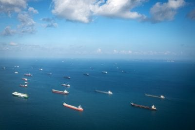 Transport ships at the ocean